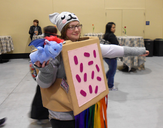 Nyan Cat cosplayer ready for perpetual flight