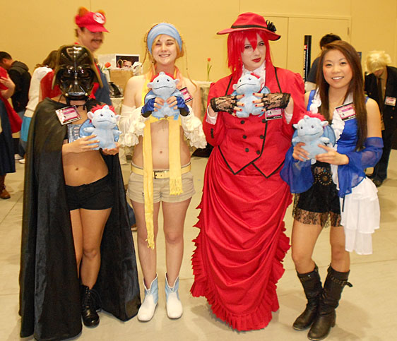 Lady Vader and Rikku form part of an eclectic cast of cosplayers