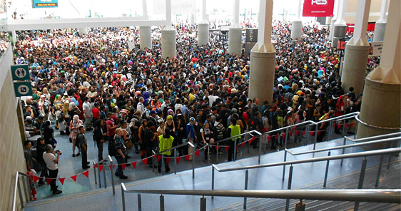 The Day 1 Exhibit Hall crowd (in waiting) at AX 2012