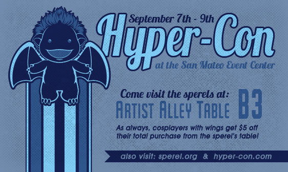Flyer announcing the sperel's presence in the Artist Alley at Hyper-Con 2012