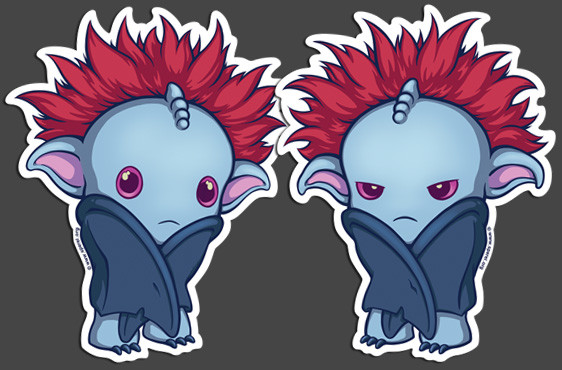 New die cut stickers of the Distressed & Stubborn baby sperels