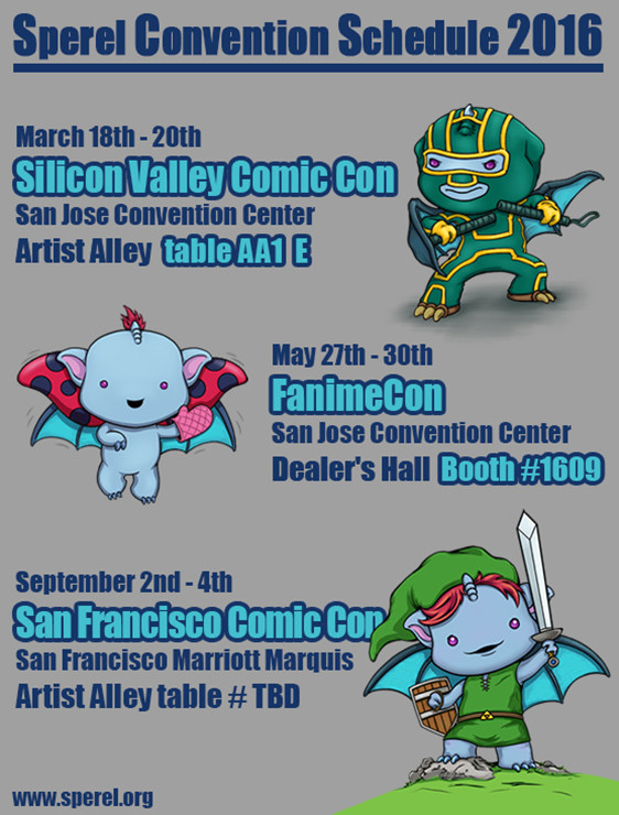 2016 Comic and Anime Convention Schedule for the sperels