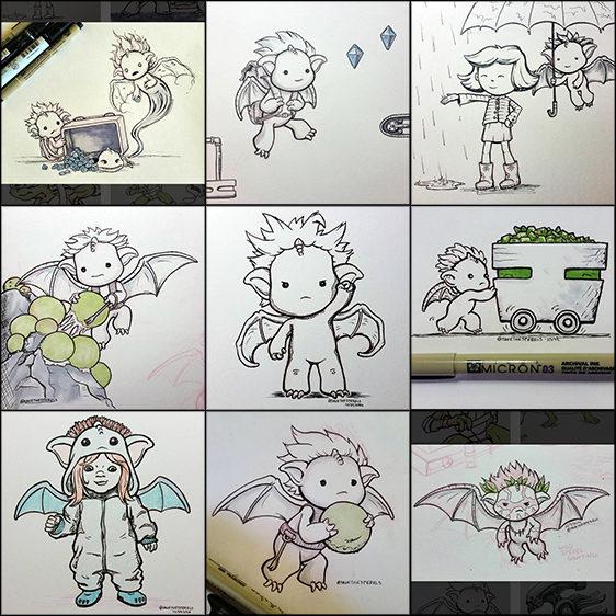 Inktober sperel drawings